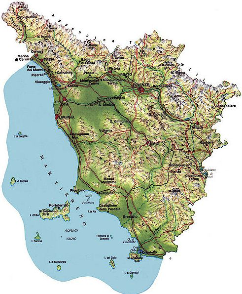 map of Tuscany Italy