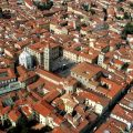 Aerial view of the historic centre of Pistoia in Tuscany, Italy