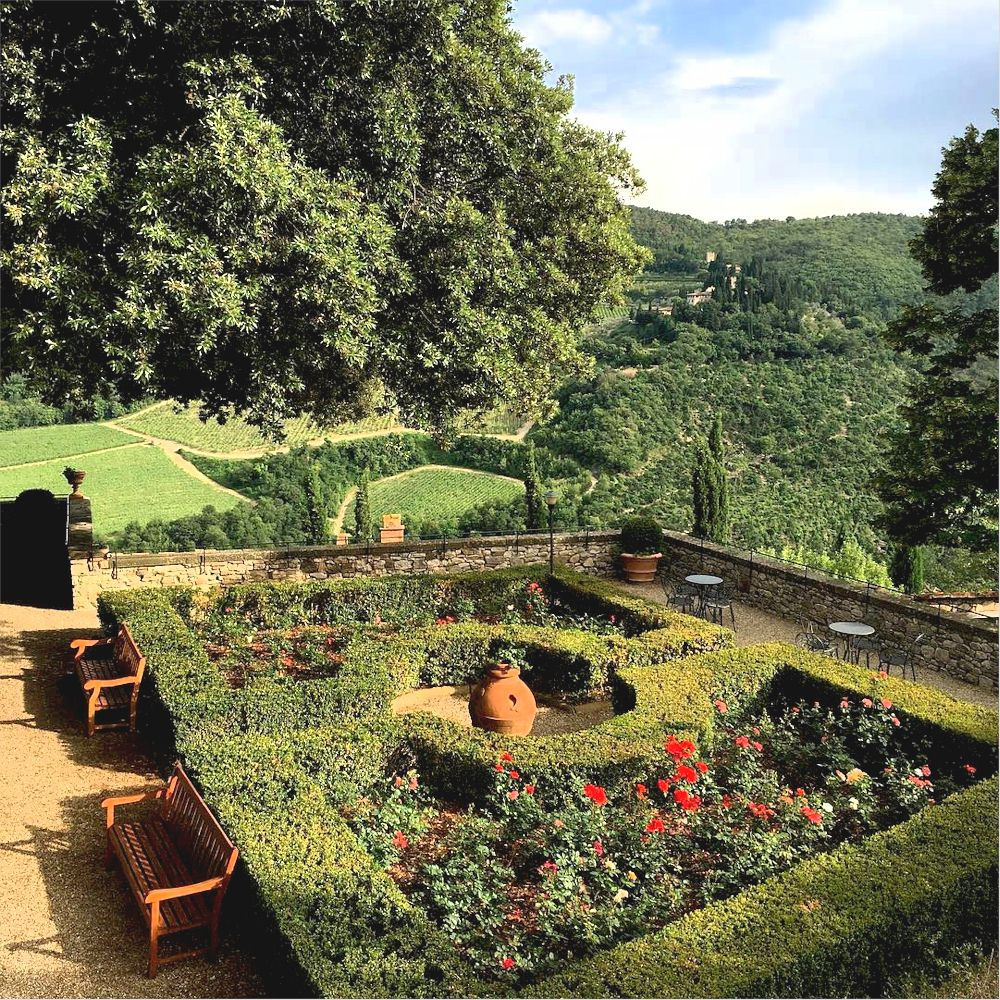 The rose garden at Castello di Vicchiomaggio